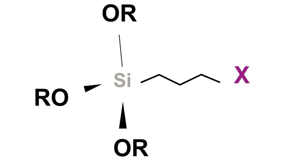 """Simplified chemical structure (X = """"organofunctional group"""" / OR = """"silicon-functional"""" group)"""