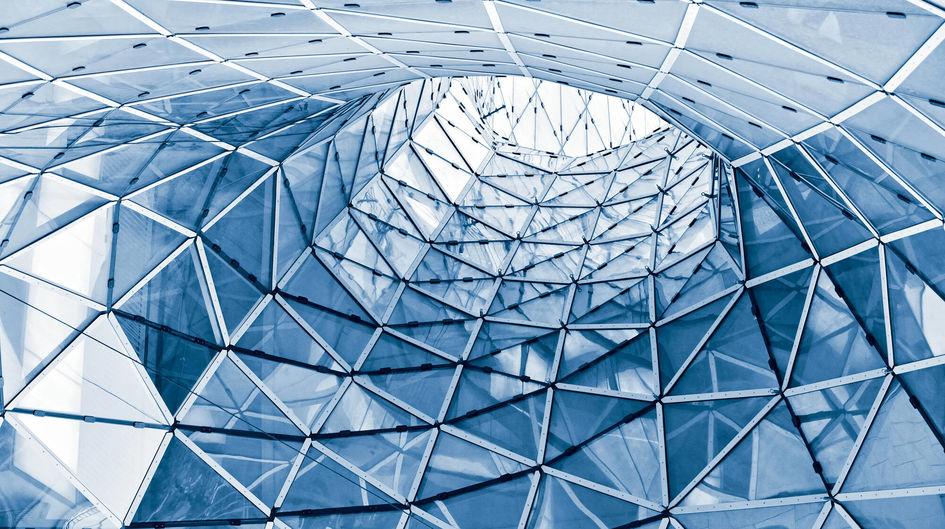 Construção em vidro geométrico